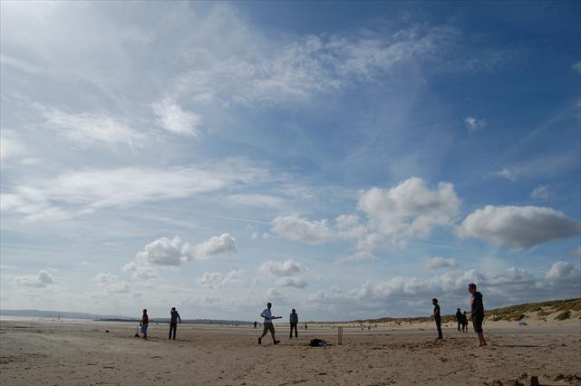 Cricket on the beach at Camber, East Sussex.