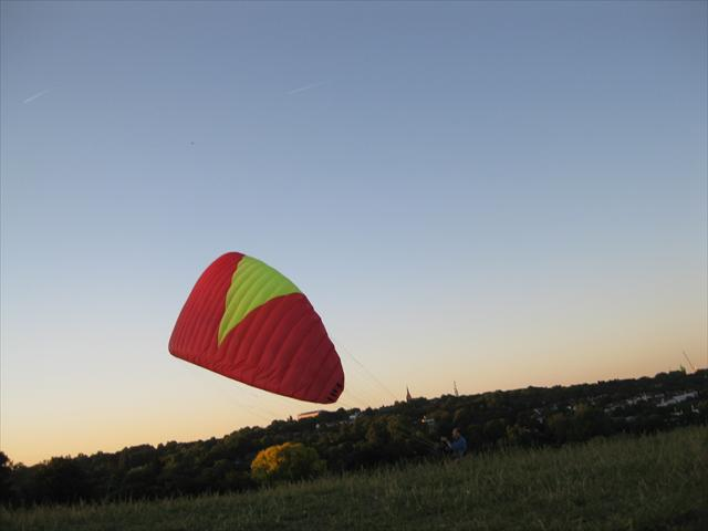 A large kite being flown on Hampstead Heath